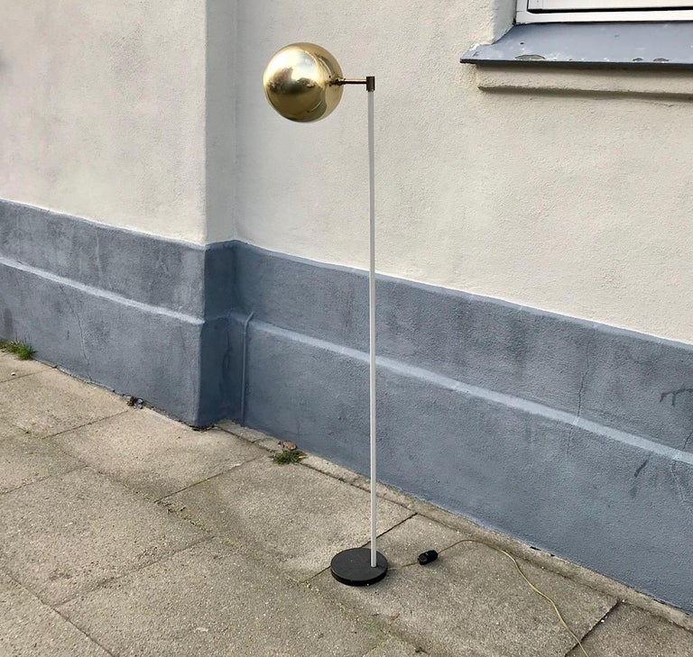 Scandinavian Modern Floor Lamp with Brass Shade, 1970s For Sale 2