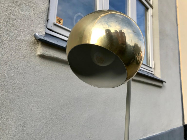 Scandinavian Modern Floor Lamp with Brass Shade, 1970s For Sale 3