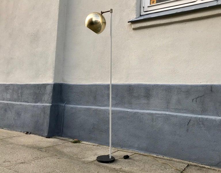 Scandinavian Modern Floor Lamp with Brass Shade, 1970s For Sale 4