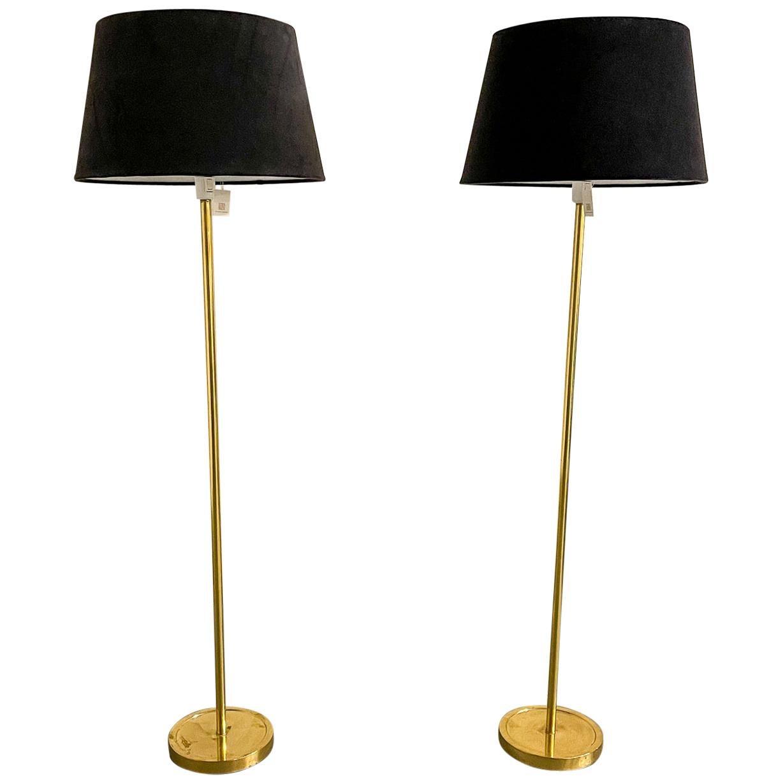 """Scandinavian Modern Floor Lamps in Brass """"ENCO"""", Sweden, 1970s"""