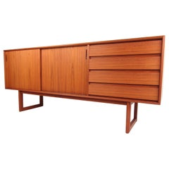Scandinavian Modern Four Drawer Credenza with Sled Base