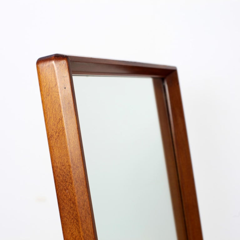 Scandinavian Modern Free Standing Cheval Mirror Mahogany Brass Details, 1960s For Sale 6