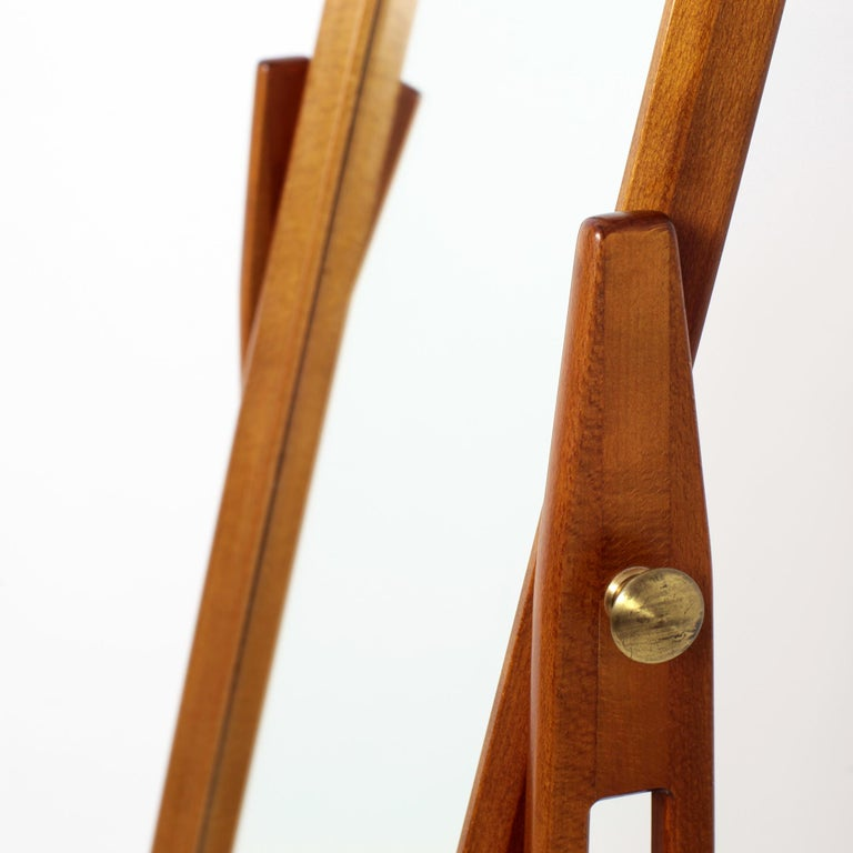 Scandinavian Modern Free Standing Cheval Mirror Mahogany Brass Details, 1960s For Sale 7