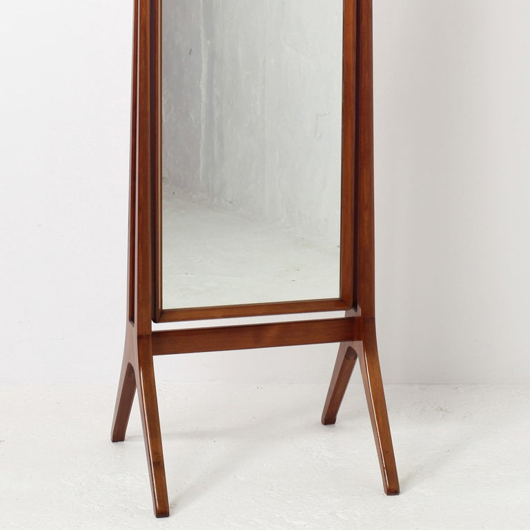 Scandinavian Modern Free Standing Cheval Mirror Mahogany Brass Details, 1960s For Sale 9