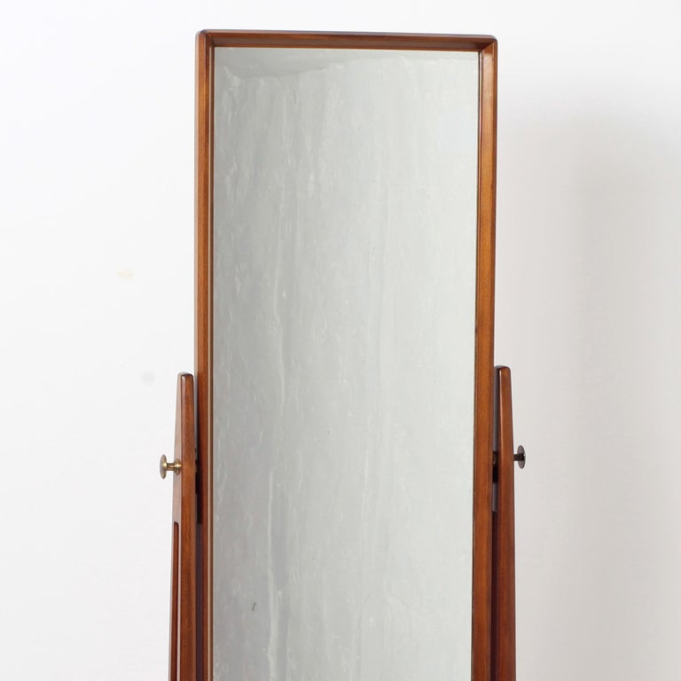 Scandinavian Modern Free Standing Cheval Mirror Mahogany Brass Details, 1960s For Sale 10