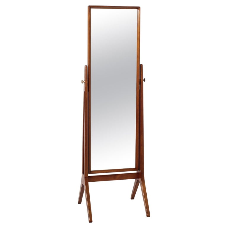 Scandinavian Modern Free Standing Cheval Mirror Mahogany Brass Details, 1960s For Sale