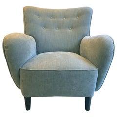 Scandinavian Modern Fritz Hansen Style Grey Armchair, 1940