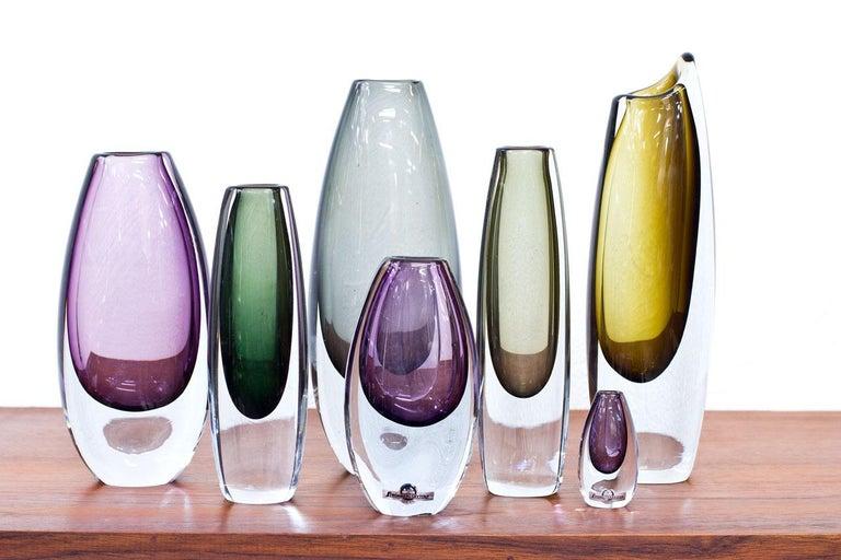 Swedish Scandinavian Modern Glass Sommerso Vases by Strömbergshyttan, Sweden, 1950s For Sale