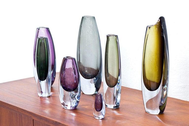 Scandinavian Modern Glass Sommerso Vases by Strömbergshyttan, Sweden, 1950s In Good Condition For Sale In Stockholm, SE