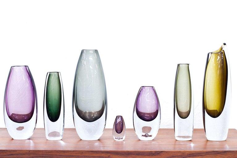 Mid-20th Century Scandinavian Modern Glass Sommerso Vases by Strömbergshyttan, Sweden, 1950s For Sale