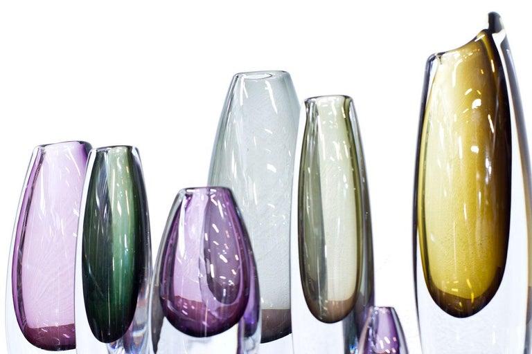 Scandinavian Modern Glass Sommerso Vases by Strömbergshyttan, Sweden, 1950s For Sale 1