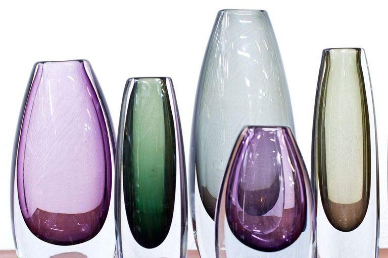 Scandinavian Modern Glass Sommerso Vases by Strömbergshyttan, Sweden, 1950s For Sale 2