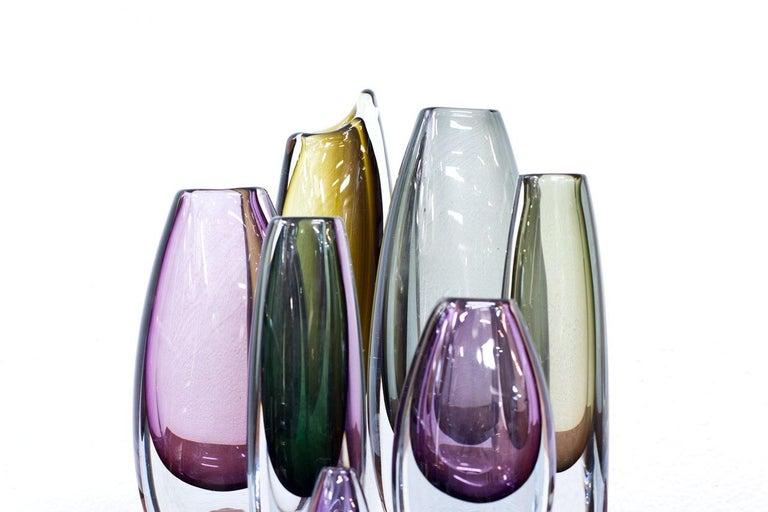 Scandinavian Modern Glass Sommerso Vases by Strömbergshyttan, Sweden, 1950s For Sale 3