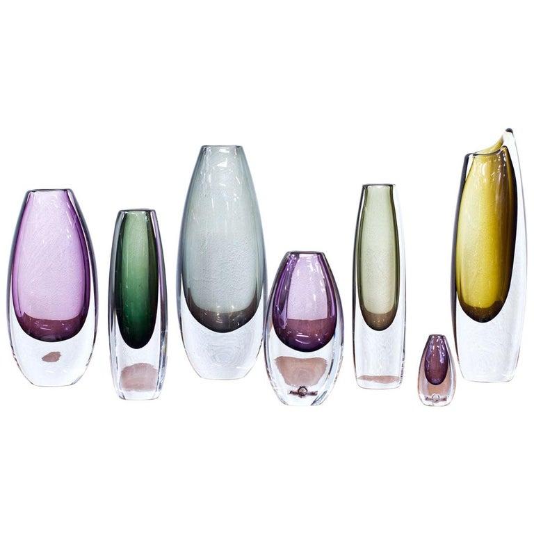 Scandinavian Modern Glass Sommerso Vases by Strömbergshyttan, Sweden, 1950s For Sale