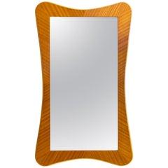 Scandinavian Modern Golden Mahogany and Beechwood Mirror