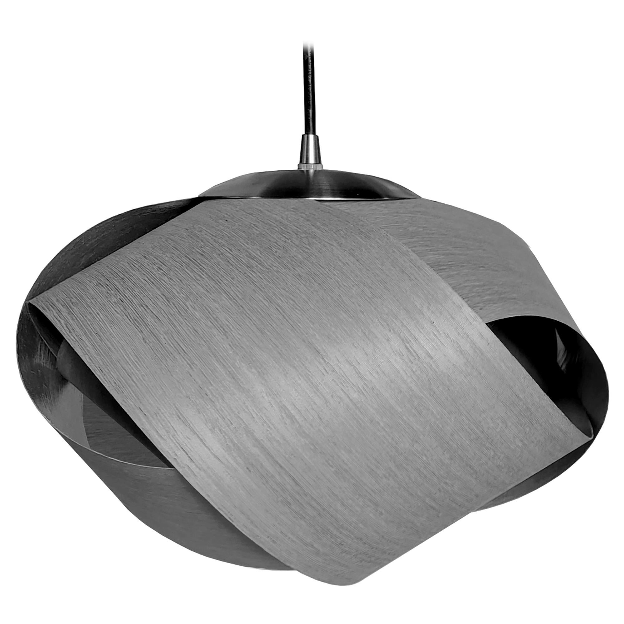 Scandinavian Modern Gray Wood Mini Pendant with Brushed Steel