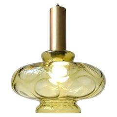 Scandinavian Modern Green Optical Glass Hanging Lamp, 1960s