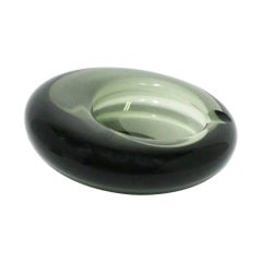 Scandinavian Modern Grey Art Glass Bowl or Ashtray Holmegaard Lutken