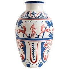 Scandinavian Modern Hand Decorated Norwegian Ceramic Vase, Hank Keramikk, 1946