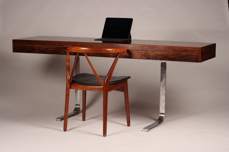 Scandinavian Modern Henning Kjærnulf Teak and leather Dinning Chair Model 255 For Sale 8