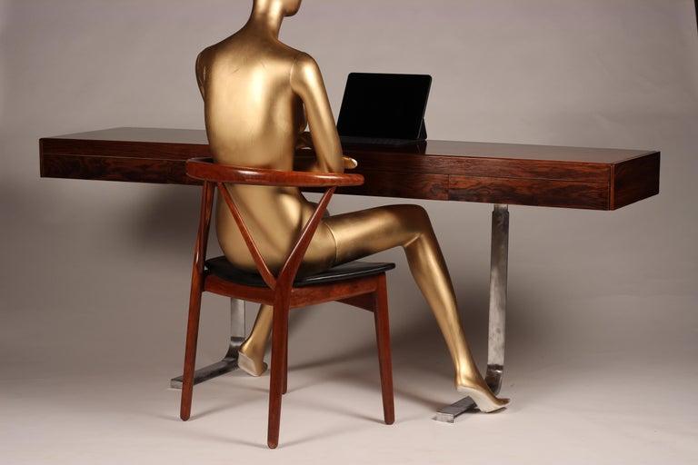 Scandinavian Modern Henning Kjærnulf Teak and leather Dinning Chair Model 255 For Sale 9