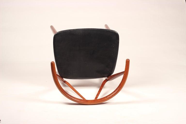 Leather Scandinavian Modern Henning Kjærnulf Teak and leather Dinning Chair Model 255 For Sale