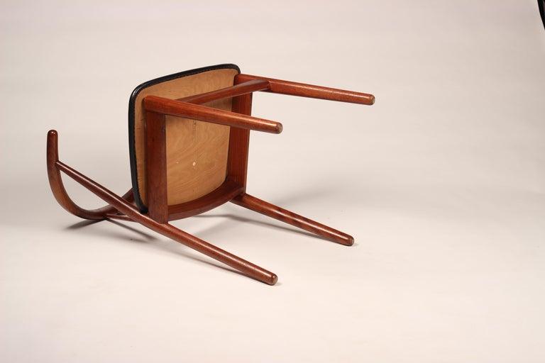 Scandinavian Modern Henning Kjærnulf Teak and leather Dinning Chair Model 255 For Sale 1