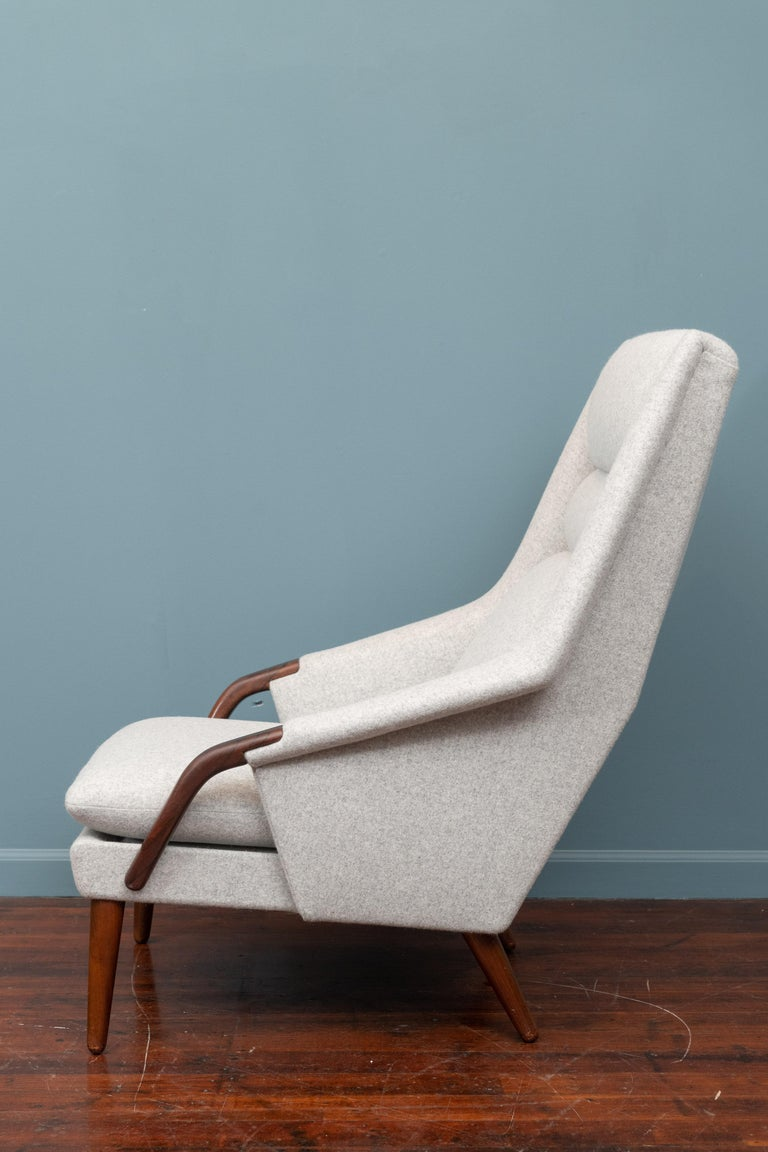 Scandinavian Modern High Back Lounge Chair In Good Condition For Sale In San Francisco, CA