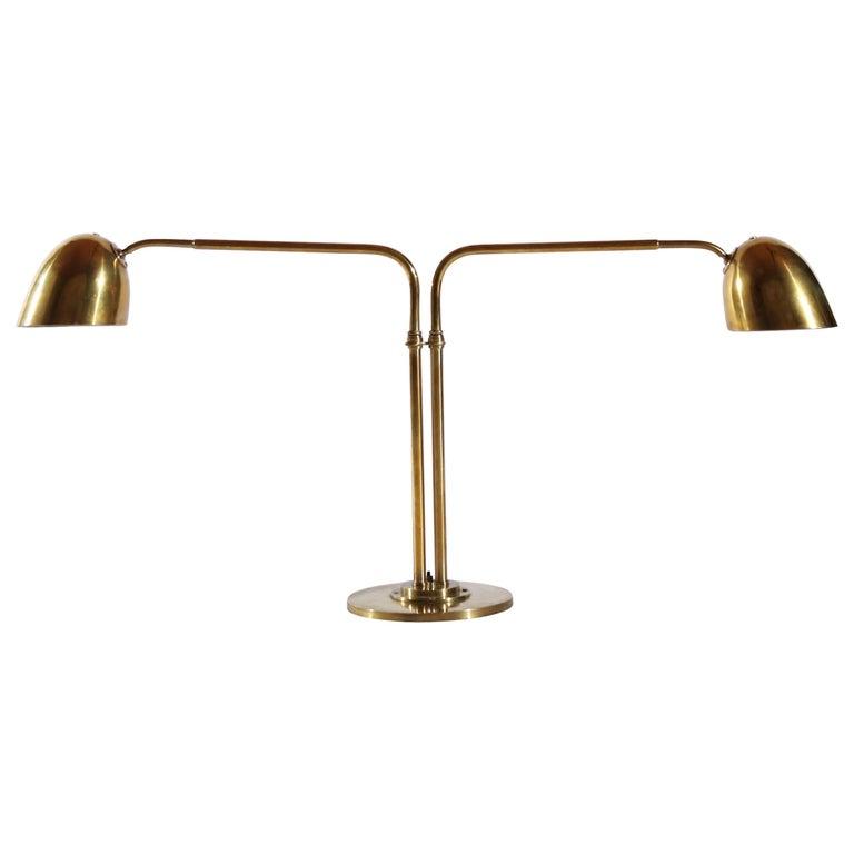 Scandinavian Modern Huge Desk Lamp in Brass by Vilhelm Lauritzen in the 1940s For Sale