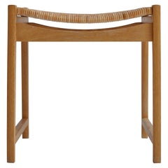 Scandinavian Modern Hvidt & Mølgaard Stool in Oak and Rattan Cane, 1960s