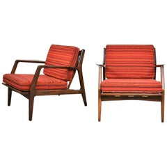 Scandinavian Modern Ib Kofod-Larsen Lounge Chairs for Selig in Red Stripe Fabric