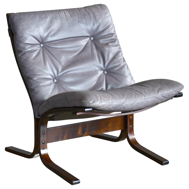 Scandinavian Modern Ingmar Relling Lowback Siesta Chair Grey Patinated Leather