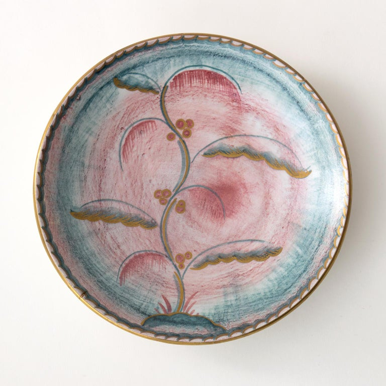 Scandinavian Modern Josef Ekberg for Gustavsberg Art Deco Floral Ceramic Plates In Good Condition For Sale In New York, NY