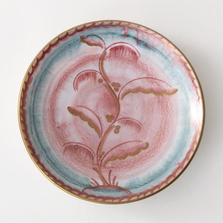 20th Century Scandinavian Modern Josef Ekberg for Gustavsberg Art Deco Floral Ceramic Plates For Sale