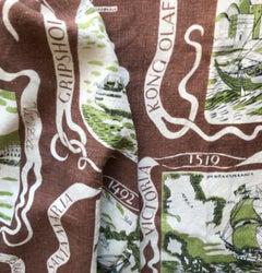 """Scandinavian Modern Josef Frank Textil, """"Navigate"""" from 1944 in Linen"""