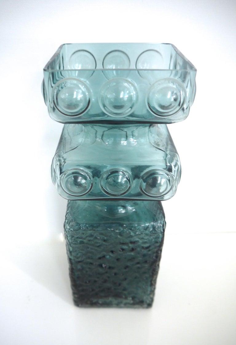 Scandinavian Modern Kehra glass vase by Tamara Aladin Riihimaki (Finland 1950s).  The Riihimaki factory started manufacturing windows and glass bottles from 1910.  Riihimaki was renamed Riihimaen Lasi Oy in 1937, and Aimo Okkolin began designing