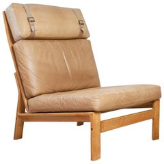 Scandinavian Modern Komfort Lounge Chair in Leather and Oak, 1960s