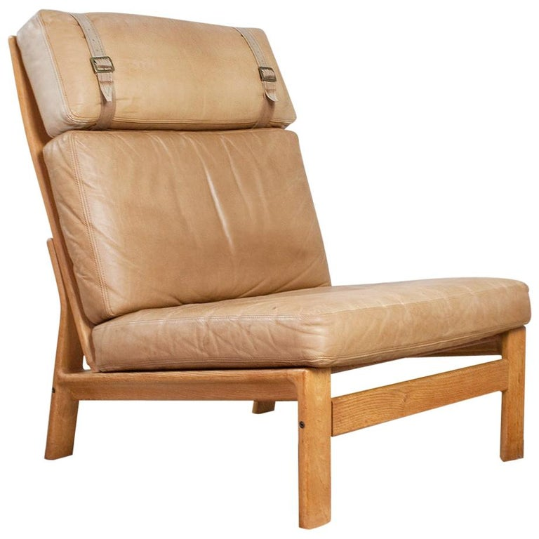 Scandinavian Modern Komfort Lounge Chair in Leather and Oak, 1960s For Sale