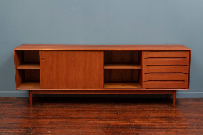 Mid-20th Century Scandinavian Modern Large Teak Credenza For Sale