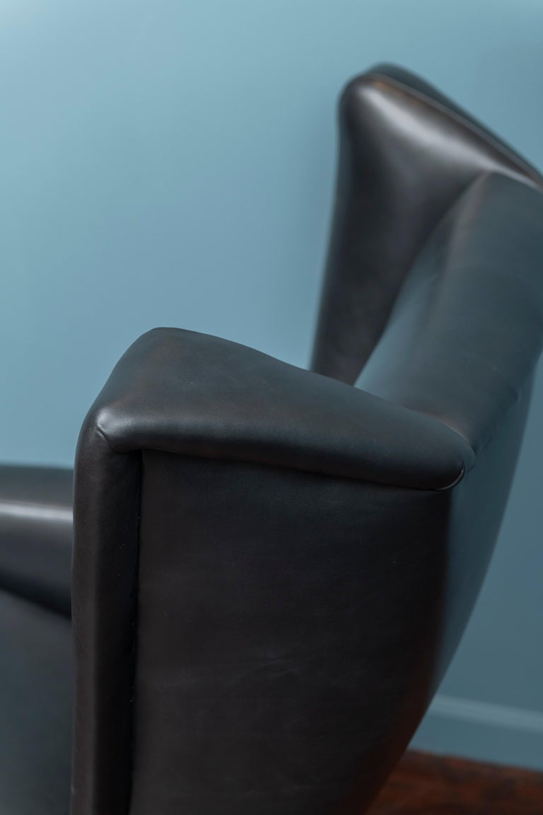 Teak Scandinavian Modern Leather Lounge Chair For Sale