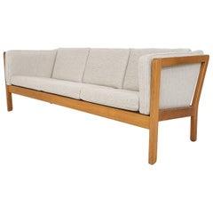 Scandinavian Modern Light Oak Three-Seat Sofa, 1960s