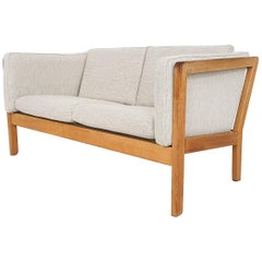 Scandinavian Modern Light Oak Two-Seat Sofa, 1960s
