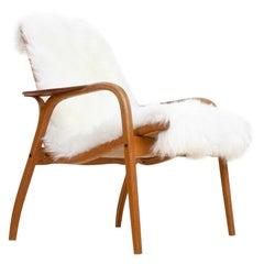 Scandinavian Modern Lounge Chair by Yngve Ekström in Oak & Sheepskin, 1951