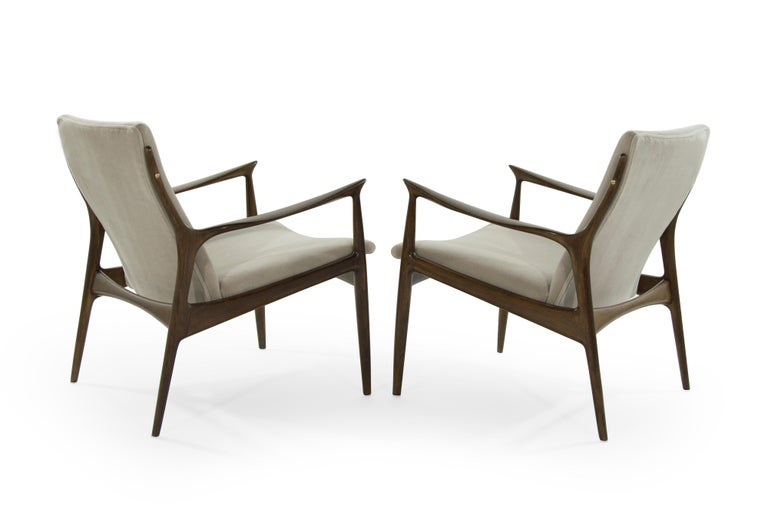 Danish Scandinavian Modern Lounge Chairs by Ib Kofod-Larsen in Mohair For Sale