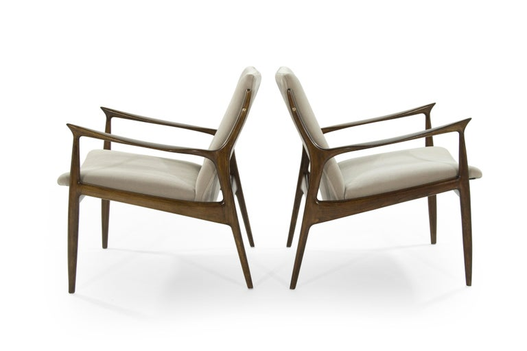 20th Century Scandinavian Modern Lounge Chairs by Ib Kofod-Larsen in Mohair For Sale