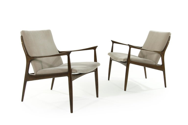 Walnut Scandinavian Modern Lounge Chairs by Ib Kofod-Larsen in Mohair For Sale