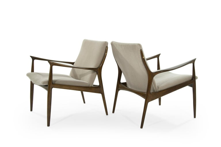 Scandinavian Modern Lounge Chairs by Ib Kofod-Larsen in Mohair For Sale 1