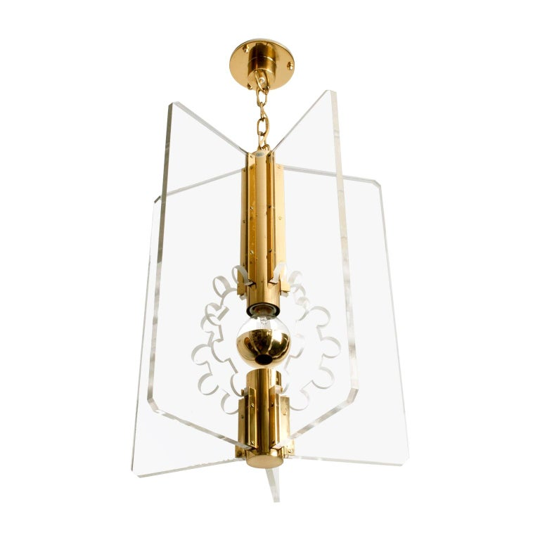 Scandinavian Modern Lucite and Brass Pendant by Hans-Agne Jakobsson for Markaryd For Sale