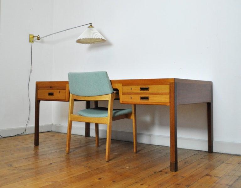 Danish Scandinavian Modern Mahogany Desk by Ejnar Larsen and Aksel Bender Madsen For Sale