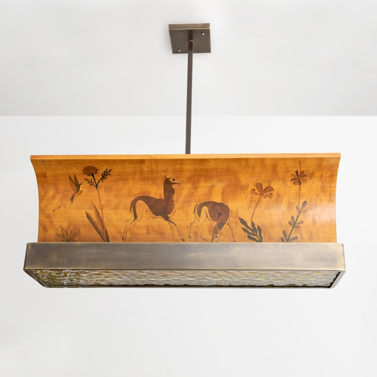 20th Century Scandinavian Modern marquetry wood and patinated brass pendant by Reiners Möbler For Sale